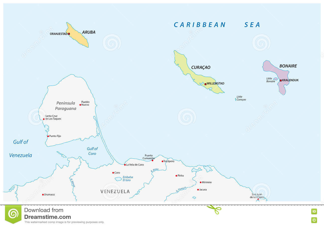 Map Of The ABC Islands In The Caribbean Sea Stock Illustration.