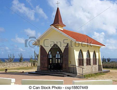 Stock Photo of Chapel Alto Vista, Aruba, ABC Islands.