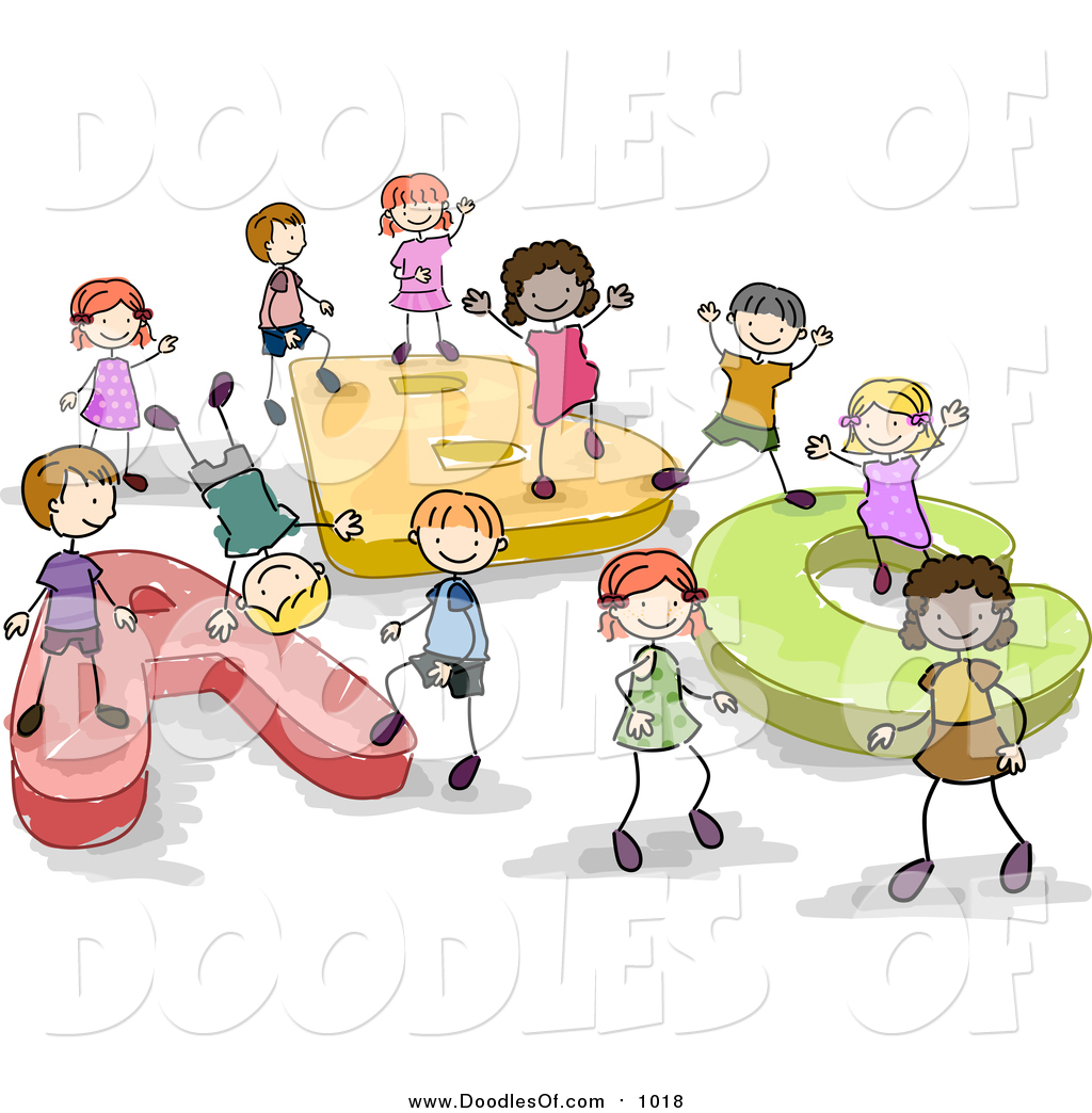 Vector Clipart of a Doodled Group of Kids Playing on ABC by.