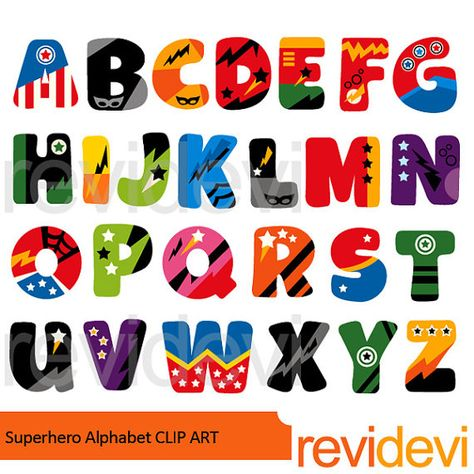 Superhero alphabet clipart.