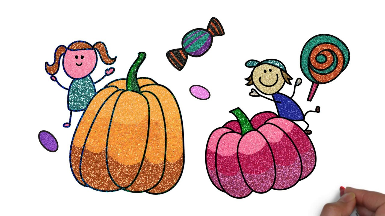 Thanksgiving Glitter color drawing pumpkin kids candy jelly.