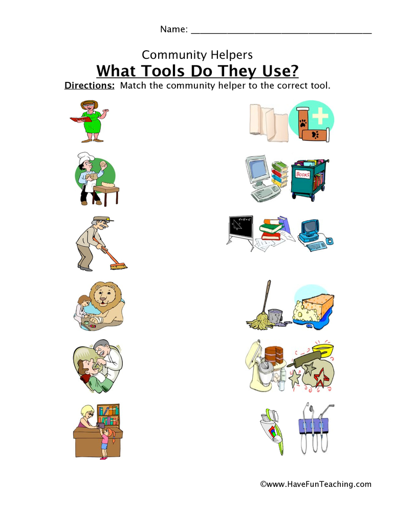 Community Helper Tools Worksheet.