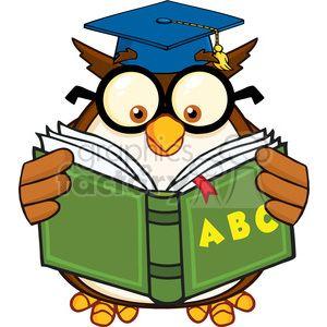 Royalty Free RF Clipart Illustration Wise Owl Teacher.