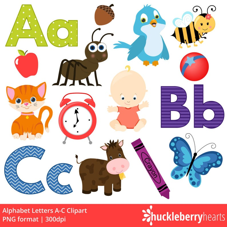 Alphabet Clipart, ABC Clipart, School Clipart, Alphabet Letters, Printable,  Commercial Use.