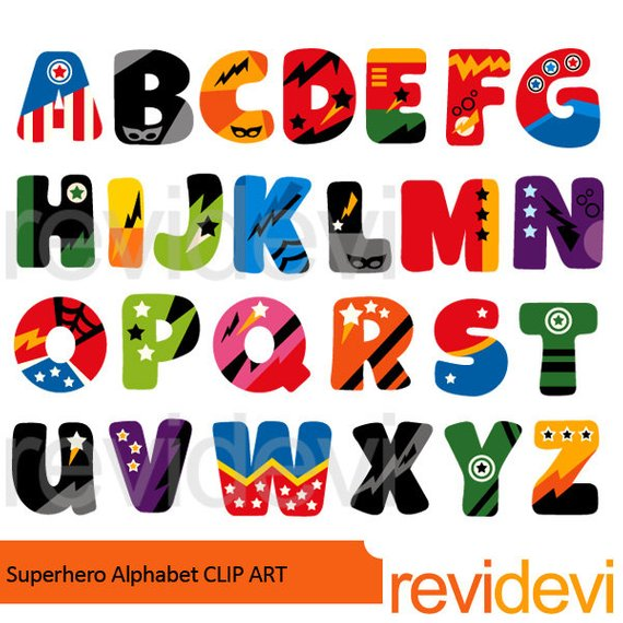 Superhero alphabet clipart.