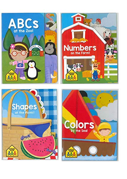 School Zone Set of 4 Board Books for Kids: ABC, Numbers, Shapes and Colors  Pack of 4..