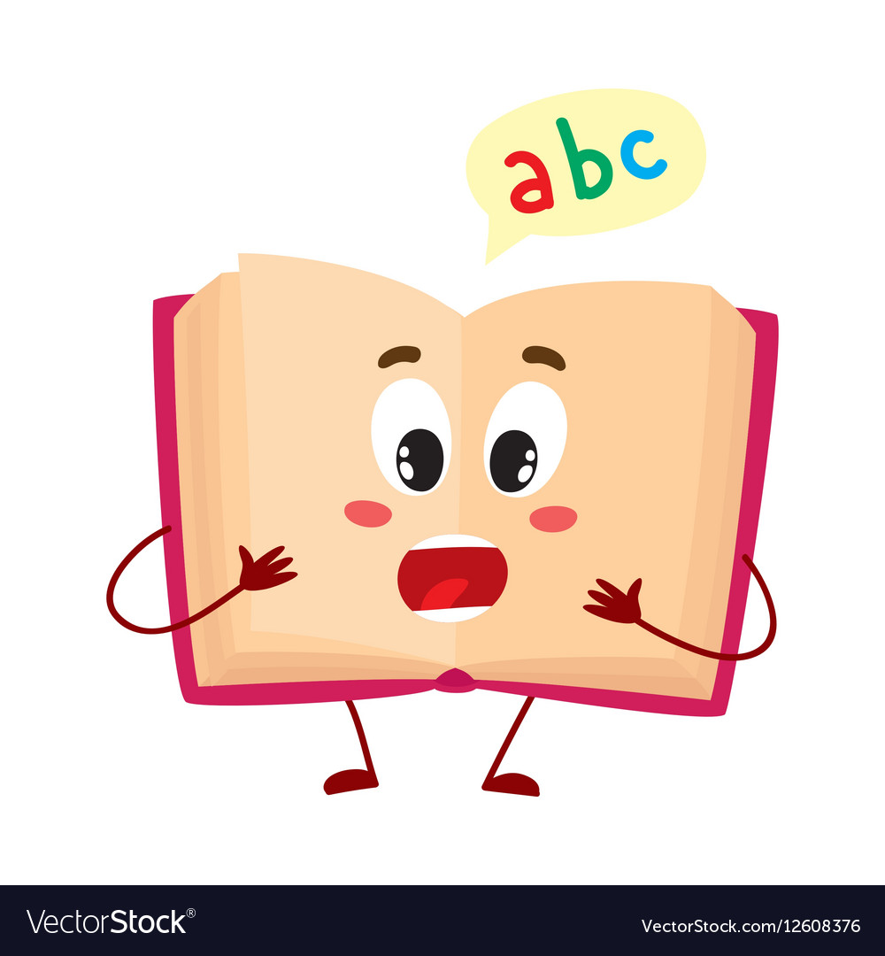 Funny open ABC book character with surprised face.