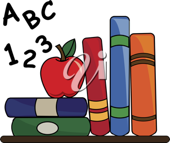 Clip art illustration of some school books on a desk with a.