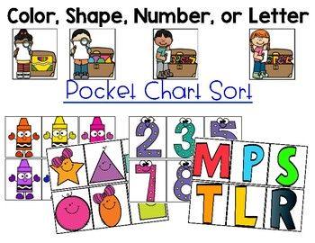Letter, Number, Color, Shape Pocket Chart Sort.