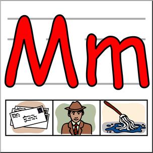 Clip Art: Alphabet Set 01: M Color I abcteach.com.