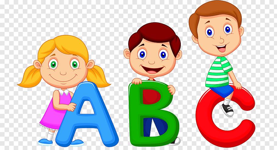 Children holding ABC letters illustration, Alphabet song.