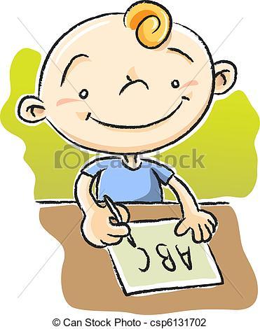 Vector Illustration of Boy Writing ABC.