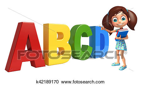 Kid girl with ABCD sign Clipart.