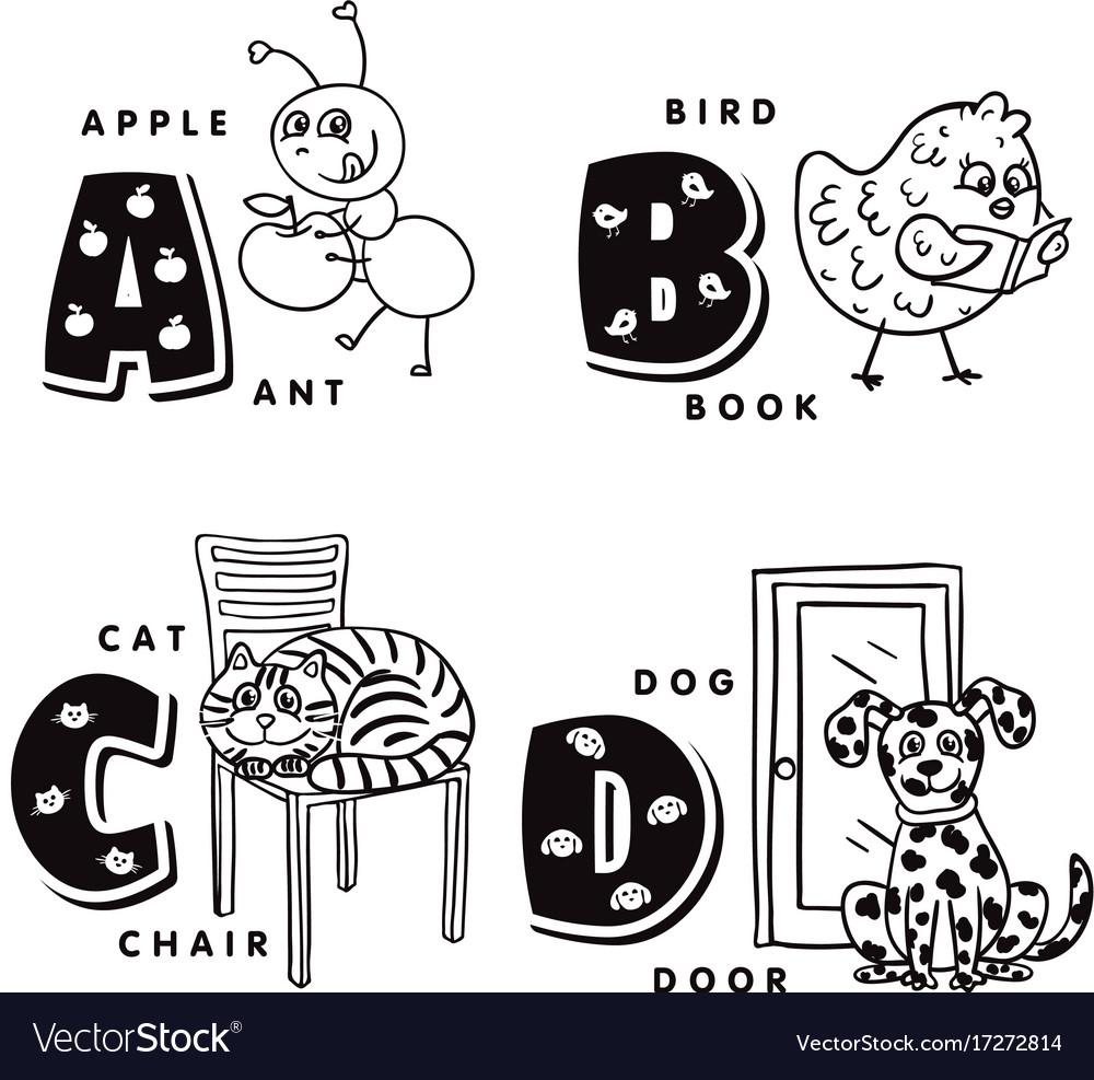 Alphabet letter a b c d depicting an ant bird.