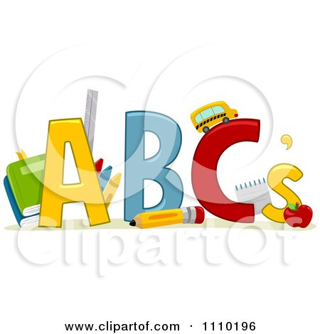 Clipart Alphabet School Items With ABCs.