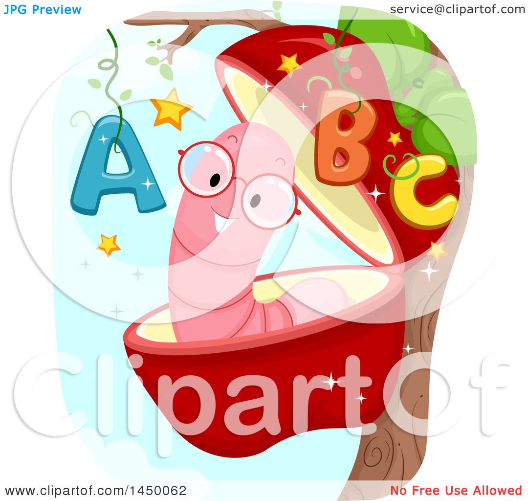 Clipart Graphic of a Happy Worm in an Apple with Abcs.