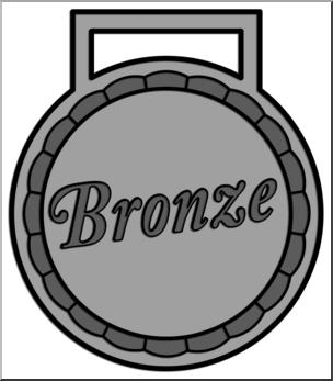 Clip Art: Award Bronze Grayscale I abcteach.com.