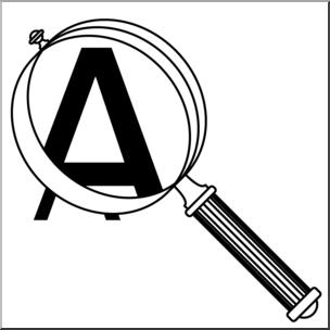 Clip Art: Magnifying Glass B&W I abcteach.com.