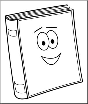 Clip Art: Cute Book 1 B&W I abcteach.com.