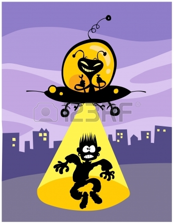 Cartoon UFO Abduction All In Separate Layers Royalty Free Cliparts.