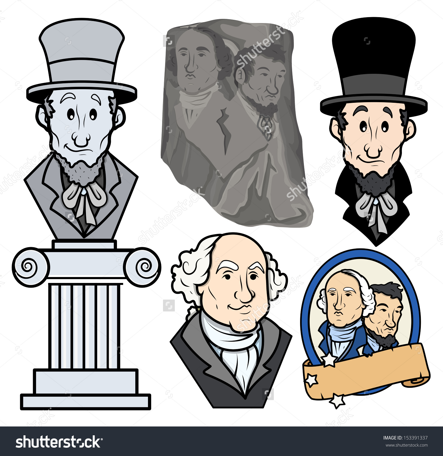 Usa Presidents George Washington Abraham Lincoln Stock Vector.
