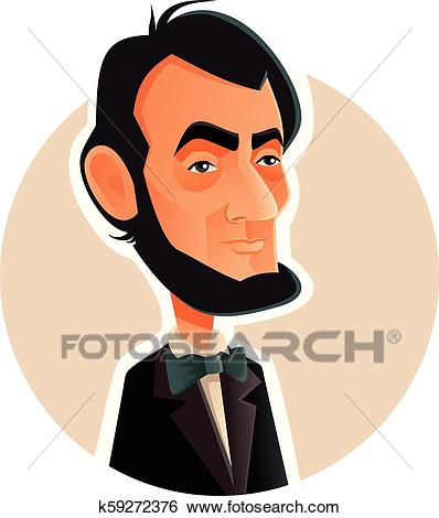 Abraham Lincoln Vector Caricature Illustration Clip Art.