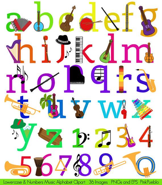 Music Alphabet Clipart Clip Art, Musical Instruments Letters.