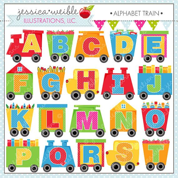 Alphabet Train Cute Digital Clipart for Commercial or.