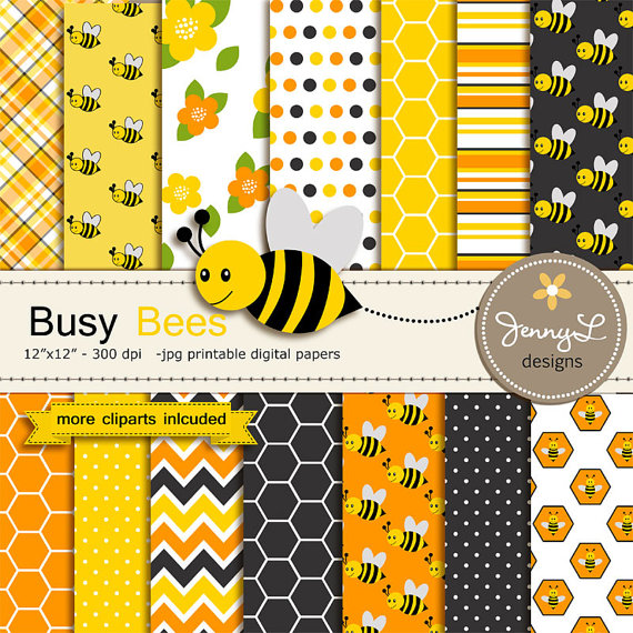 Bee Digital papers and Clipart SET, Bumble Bees, Honeycomb.