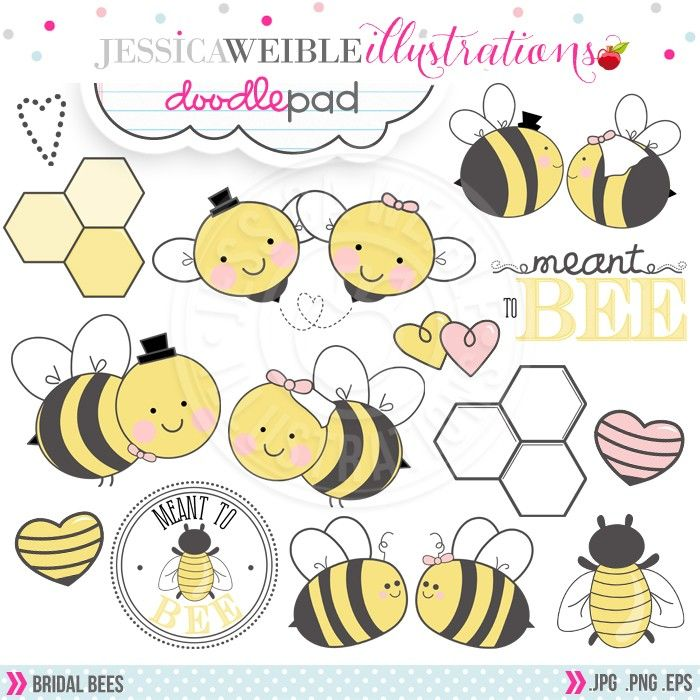 Bridal Bees Digital Clipart.