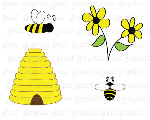 Bee Clip Art Bumble Bee Clipart Digital Bee Bee Digital.