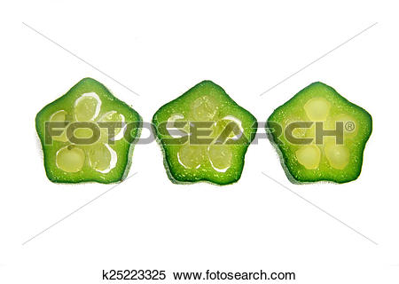 Stock Image of Cross section of Abelmoschus esculentus, Lady.