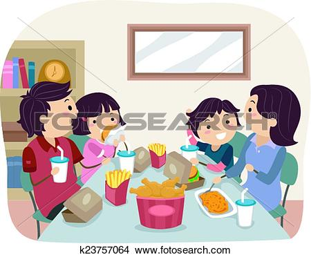 Clipart of Stickman Family Home Fast Food Dinner/ k23757064.