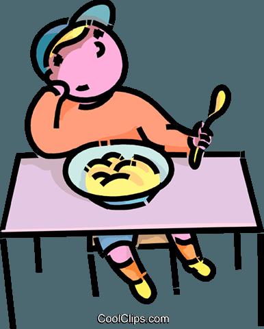 Junge wollte nicht sein Abendbrot essen Vektor Clipart Bild.