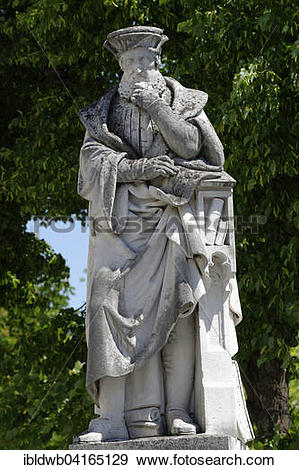 Stock Photograph of Statue of Johannes Aventinus, philologist and.