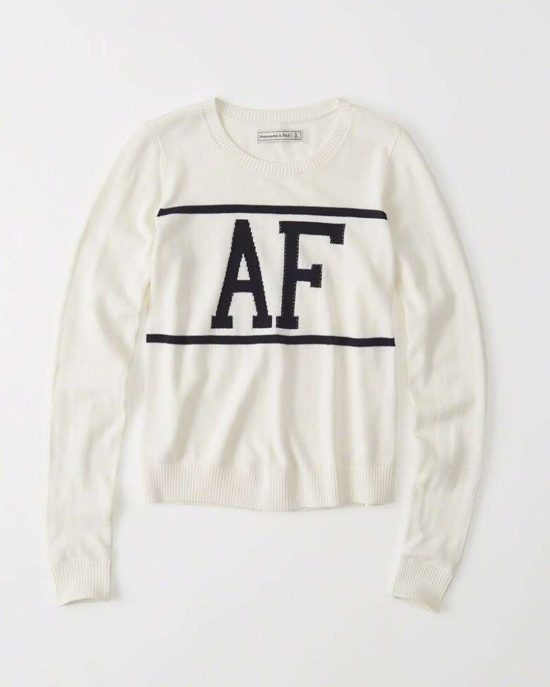 Abercrombie & Fitch Logo Crew Sweater With White (Women).