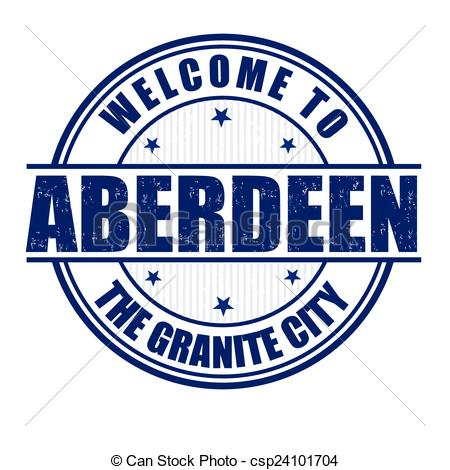 Vector Clipart of Welcome to Aberdeen stamp.