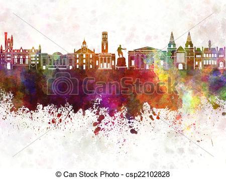 Clip Art of Aberdeen skyline in watercolor background csp22102828.