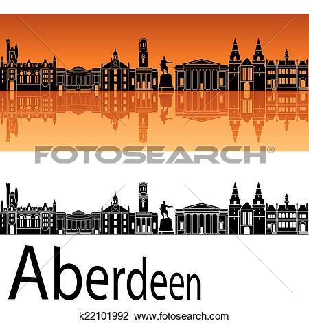 Clipart of Aberdeen skyline in orange background k22101992.