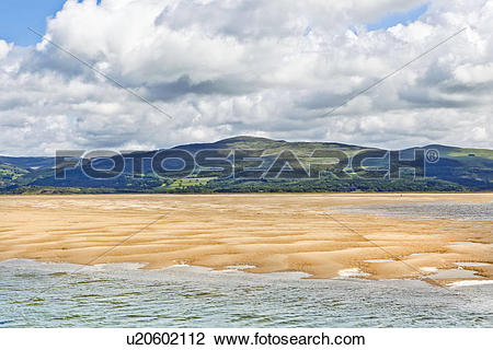 Stock Photo of Wales, Gwynedd, Aberdovey. The coastline of.