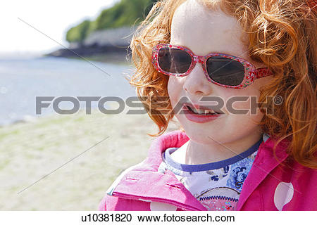 Stock Photography of Wales, Gwynedd, Aberdovey. Young red haired.