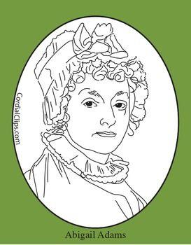 Abigail Adams Clip Art, Coloring Page, or Mini.