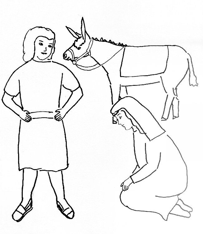 Bible Story Coloring Page for David and Abigail.