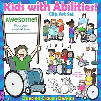 Clip Art Kids with Disabilities / Abilities Kids Clip Art.