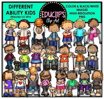 Different Ability Kids Clip Art Bundle {Educlips Clipart}.