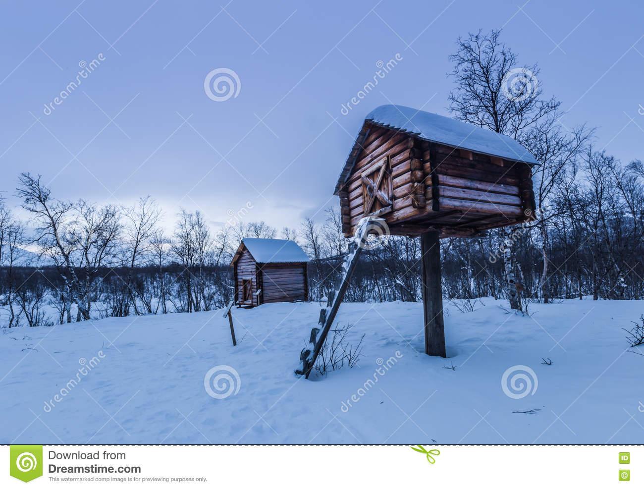 Sami Camp In Abisko National Park, Sweden Stock Photo.