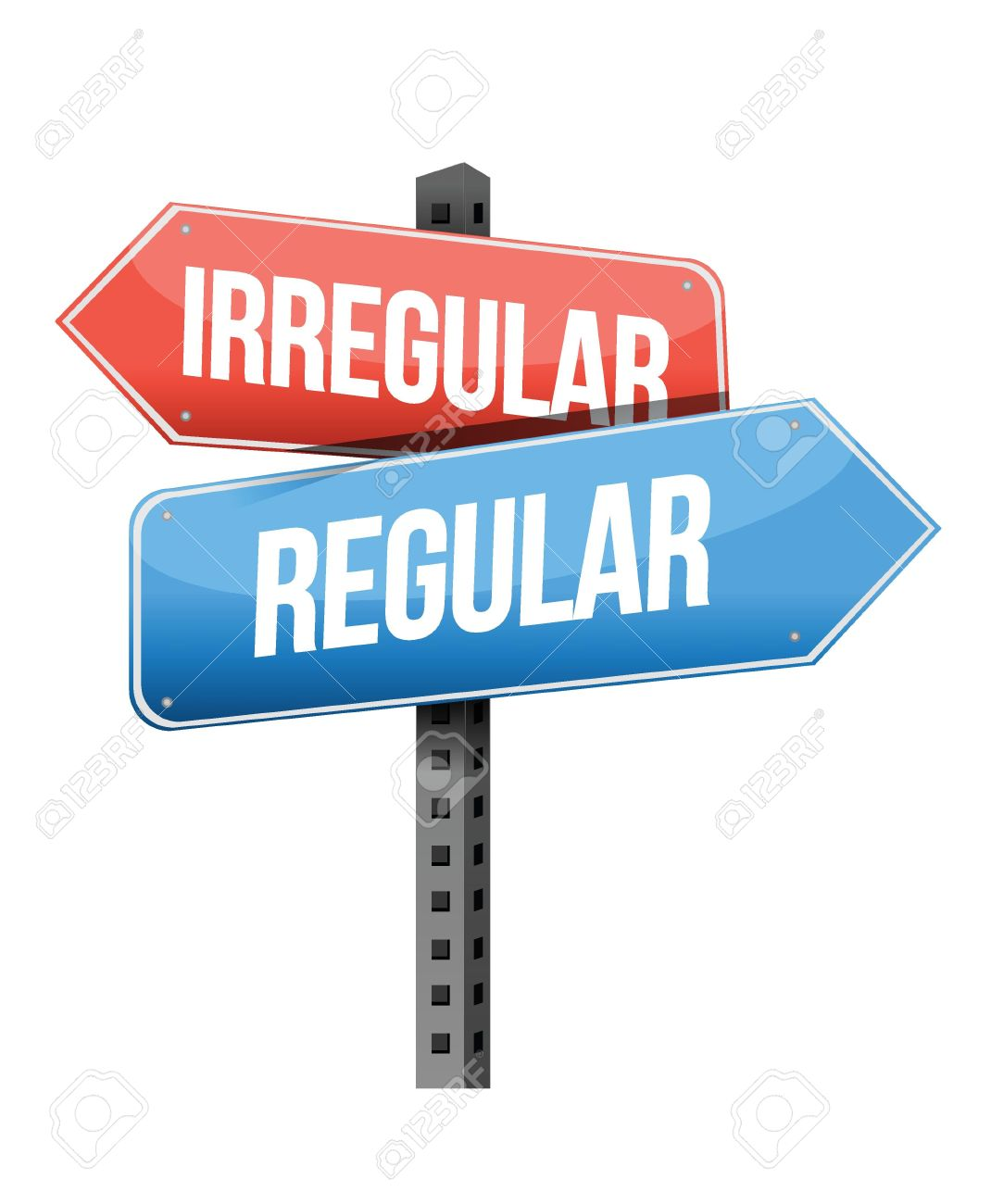 Irregular, Regular Road Sign Illustration Design Over A White.