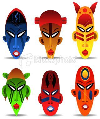 Mask Design African Tribal Masks Colorful Clipart.