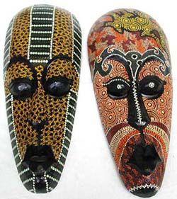 Aboriginal masks, wood carvings, wall decor, painted mask.