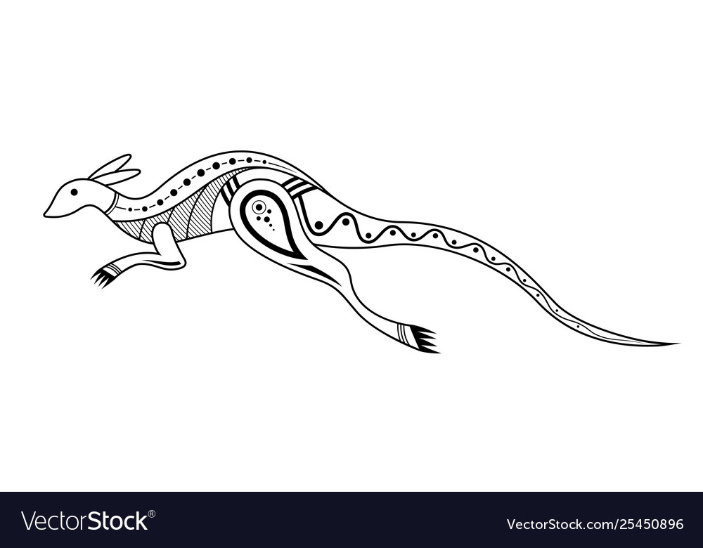Kangaroo aboriginal art style monochrome isolated.